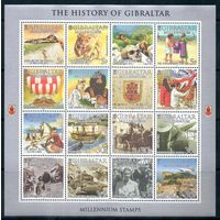 История Гибралтар 2000 год 1 малый лист из 16 марок