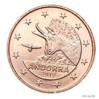 1 евроцент 2019 Андорра UNC из ролла