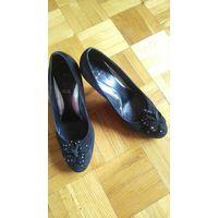Туфли чёрные, натуральная замша, рр 39
