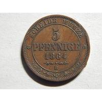 Саксония 5 пфеннигов 1864г