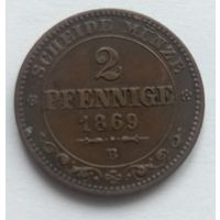 2 пфеннига 1869 B. Саксония. Редкая + отличная!