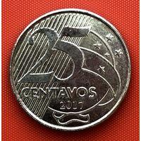 109-02 Бразилия, 25 сентаво 2017 г. Единственное предложение монеты данного года на АУ