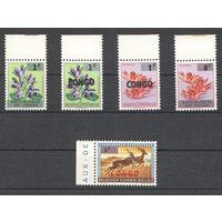 Конго Флора и фауна зубцовые 5 марок