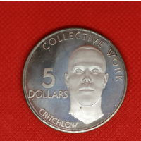 Монета 5 долларов 1978 года. Гайяна. Крупная монета. UNC