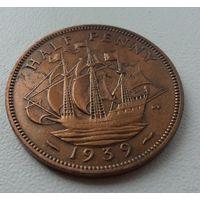 1/2 пенни Великобритания 1939 г.в. KM# 844, 1/2 PENNY, из коллекции