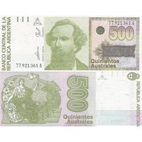 Аргентина 500 аустралей образца 1988 года UNC p328b