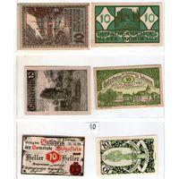 Австрия нотгельды 6 штук (10) 10 геллеров.