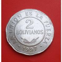 29-24 Боливия, 2 боливиано 1997 г. Единственное предложение монеты данного года на АУ