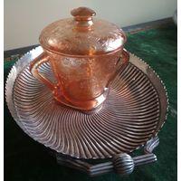 Старинная сахарница с крышкой медовое стекло декорация Сецессия