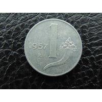 Италия 1 лира 1957г.  R