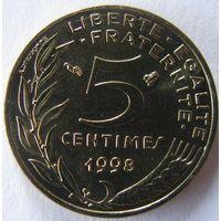 1k Франция 5 сантимов 1998 В ХОЛДЕРЕ распродажа коллекции