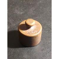 Гиря старая Польша 100 гр., бронза латунь, гирька торговая аптечная, клейма, (14)