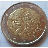 Франция 2 евро, 2017 100 лет со дня смерти Огюста Родена     ( 3-9-2 )