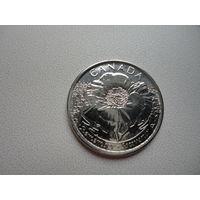 Канада 25 центов Мак 2015 Монета из рола
