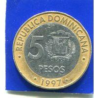Доминиканская Республика 5 песо 1997 , биметалл