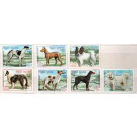 Собаки. Серия 7 марок, 1987г., гаш. Кампучия.