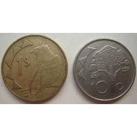 Намибия 1 доллар 1993, 10 центов 2002 гг. (u)