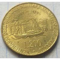 Италия 200 лир, 1989 100 лет морской военной базе в Таранто           ( 6-1-1 )