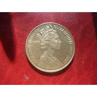 Памятный монетовидный жетон Золотой юбилей правления Елизаветы II 1952-2002 (без футляра) RR
