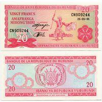 Бурунди. 20 франков (образца 1995 года, P27c, UNC)