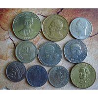 Южная и Центральная Америка. 10 монет-10 стран 1967-2000 г.