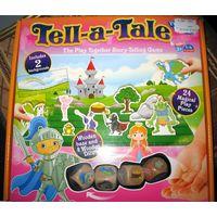 Настольная игра Tell-a-Tale (Cheatwell Games, Англия) Размеры 24,5 смх23,5х4,5 см. В комплекте деревянное игровое поле, 24 игровые фигурки, 4 деревянных кубика с заданиями, 2 фона. Tell-a-Tale – супер