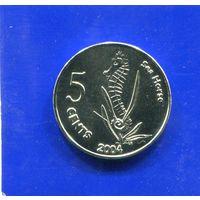 Кокосовые ( Киллинг) острова 5 центов 2004 , Морской Конек , UNC