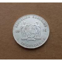 Суринам, 10 гульденов 1976 г., серебро, годовщина независимости