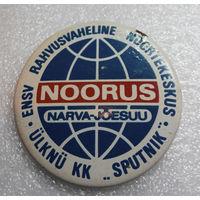 Значок. Бюро туризма Спутник.  Гостиница Noorus, Нарва-Йыэсуу, Эстония #0066