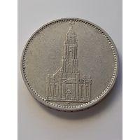 5 рейхсмарок Германия (Третий Рейх) 1935 год D. Кирха. Монета не чищена. Серебро 900. 321