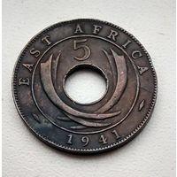 """Британская Восточная Африка 5 центов, 1941 """"I"""" - Бомбей  3-1-5"""