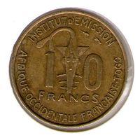 Французское Того 10 франков 1957 года.