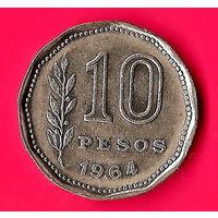 27-40 Аргентина, 10 песо 1964 г.