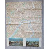 Карта Москвы 1985 года, большая: 75х59 см., описание к карте с указанием многих достопримечательностей и объектов Москвы 1985 года, состояние: хорошее...