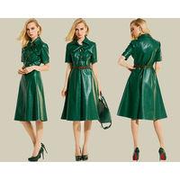 Оригинальное стильное зеленое платье. Экокожа.