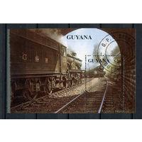 Гайана - 1990 - Поезда - [Mi. bl. 92] - 1 блок. Гашеный.