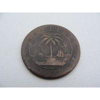 Либерия. 2 цента 1896 год  KM#6  Редкая!!!