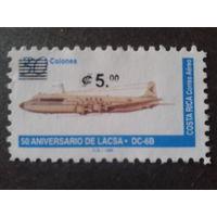 Коста-Рика 1996 самолет, надпечатка