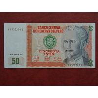 Перу 50 интис 1987 года UNC.