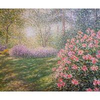 """Картина маслом """"Рододендроны в Ботаническом саду"""""""