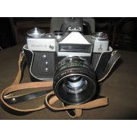 С 1 рубля!Фотоаппарат Зенит-Е с Олимпийской символикой.с Гелиос 44-2