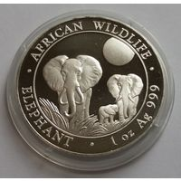 """Сомали 2014 серебро (1 oz) """"Elephant"""" (капсула)"""
