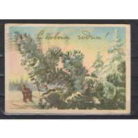 СССР Художественная маркированная почтовая карточка С Новым годом 1959 год художник Павлов прошедшая почту из Бреста в Псков
