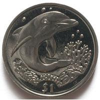Британские Виргинские Острова 1 доллар 2004 года. Дельфин
