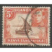Кения Уганда и Танганьика. Король Георг VI. Парусник. 1938г. Mi#54.