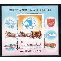 Румыния-1989,(Мих.Бл.258)  ** ,  Лошади, Филвыставка