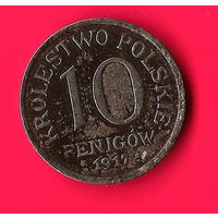 02-08 Польша (немецкая оккупация) 10 фенигов 1917 г.