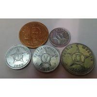 Куба 1, 2, 5, 20 сентаво, 1  песо набор из 5 монет
