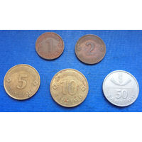 Латвия 1, 2, 5, 10, 50 сантимов 1992