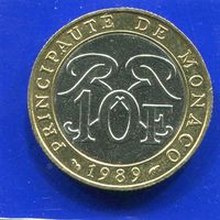 Монако 10 франков 1989 , биметалл , нечастый год